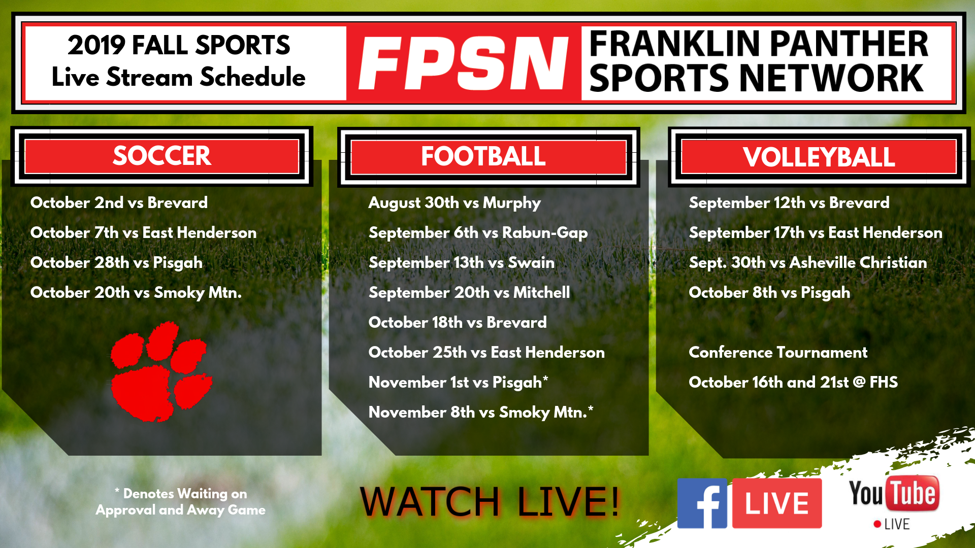 FPSN Live Stream Schedule 2019 Fall